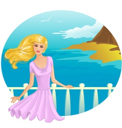 Girl on the bridge vector