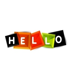 Hello word button banner or squares vector