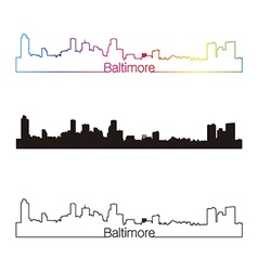 Baltimore skyline linear style with rainbow vector