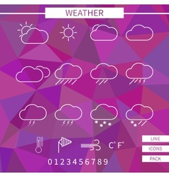 Weather icon set white thin line elements on vector