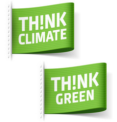 Think climate and think green labels vector