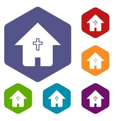 Protestant church rhombus icons vector