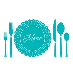 Plate knife and fork icon menu sign vector
