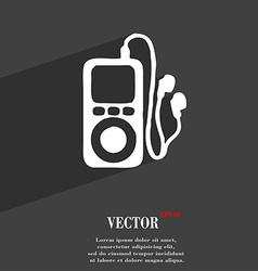 Mp3 player headphones music icon symbol flat vector