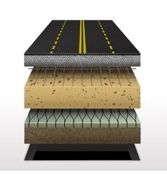 Section of asphalt road vector