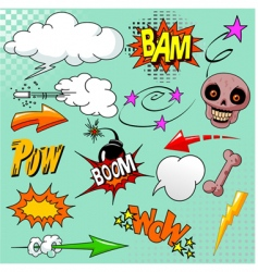 Set of comic elements vector