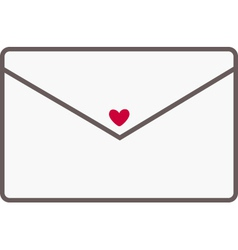 Envelope with a red heart vector