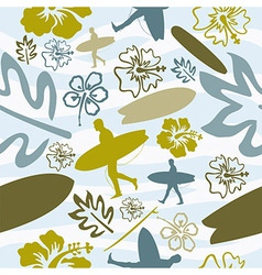 Summer surfing seamless pattern vector