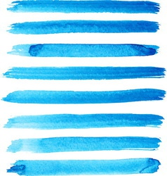 Set of bright blue color brush strokes vector