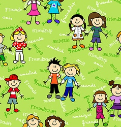 Seamless kids friendship pattern vector