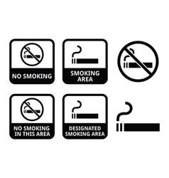 No smoking smoking area icons set vector