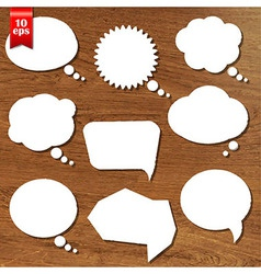 Wooden background with speech bubbles set vector