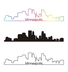 Minneapolis skyline linear style with rainbow vector