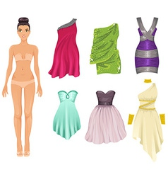 Dress up paper doll with an assortment of cocktail vector