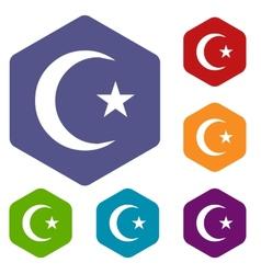 Islam rhombus icons vector