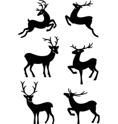 Six deer silhouettes vector
