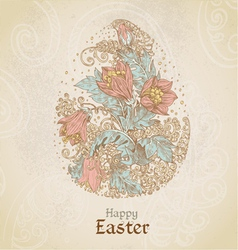 Easter vintage color background with egg vector