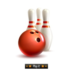 Bowling isolated set vector