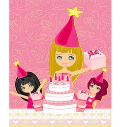A of kids celebrating a birthday party vector
