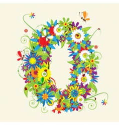 Numbers floral design vector