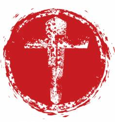 Christian cross grunge stamp vector