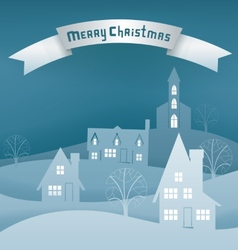 Christmas design night village banner lettering vector