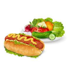Hot dog with vegetables vector
