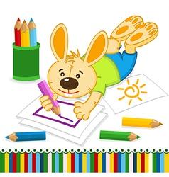Rabbit drawing pencils vector