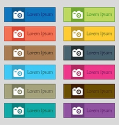 Photo camera icon sign set of twelve rectangular vector