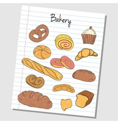 Bakery doodles lined paper colored vector