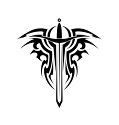 Tribal tattoo with medieval sword vector
