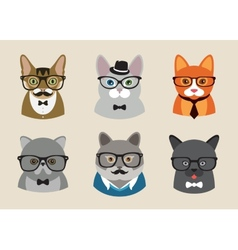 Cute fashion hipster animals with flat design vector