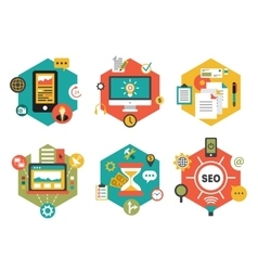 Abstract colorful flat business and finance icons vector