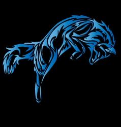 A tribal wolf jump tattoo in black vector