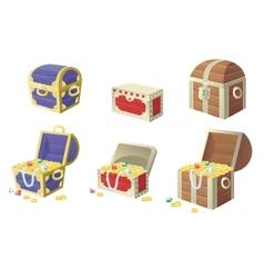Treasure chest full of gold vector