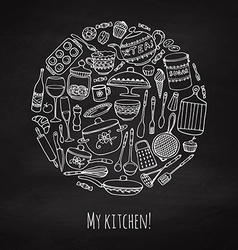 Set of hand drawn cookware vector