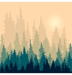 Landscape with silhouettes of fir-trees vector