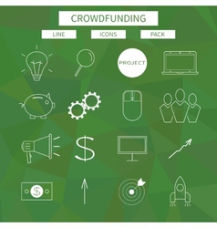 Flat line icons set of crowd funding service vector