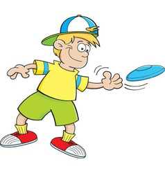 Cartoon boy throwing a flying disc vector