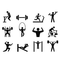 Gymnasium and body building icons vector