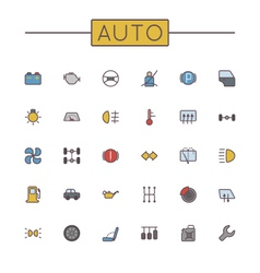Colored auto line icons vector