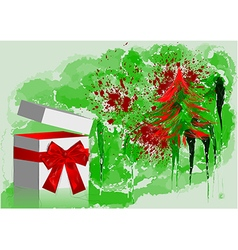 Gift with red bow and tree vector