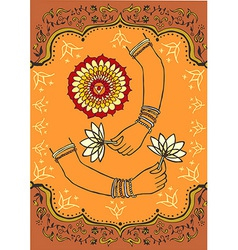 Women hand holding lotus flower background vector