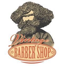 Vintage barber shop logo vector