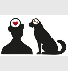 Man and dog silhouettes vector