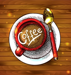 Food - a cap of coffee on the wood texture vector