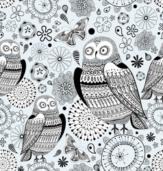 Graphic pattern of owls and butterflies vector