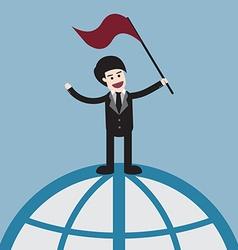 Success businessman on world vector