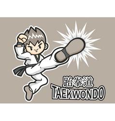 Taekwondo exercise in boys mascot vector