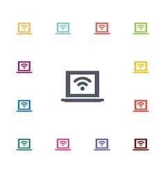 Wifi laptop flat icons set vector